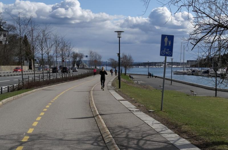 """Sykkelruter i Oslo. <span class=""""caps"""">E18</span> fra Lysaker til Aker brygge"""