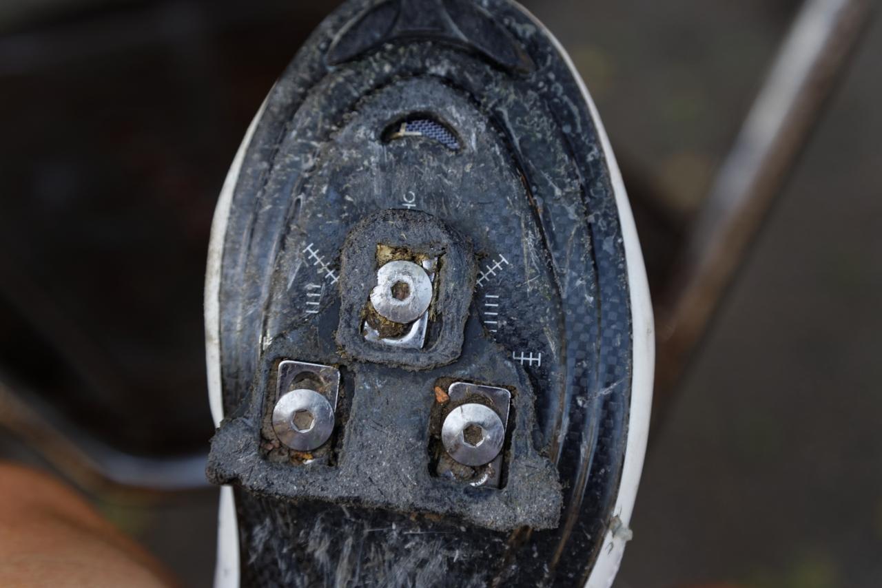 Sykkelsko med utslitt kloss