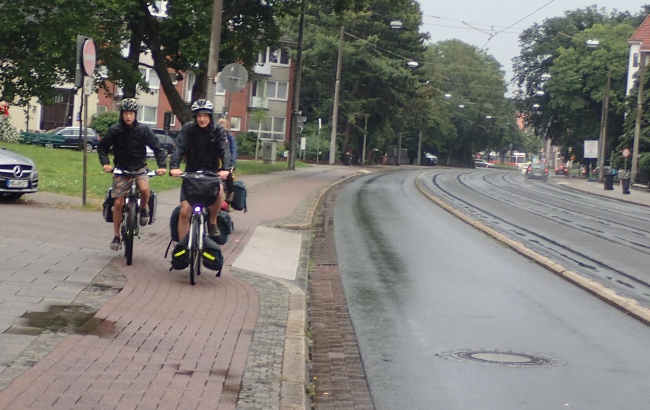 Syklister i regn, Bremen